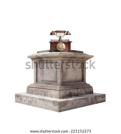 retro pedestal and a phone - stock photo