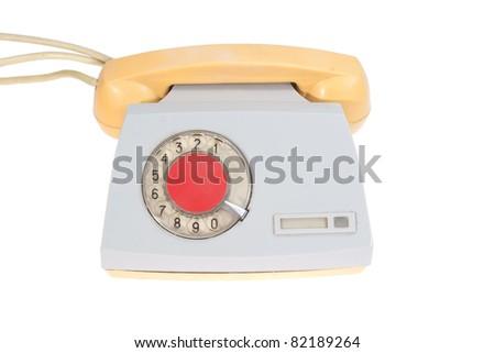 retro phone isolated on a white - stock photo