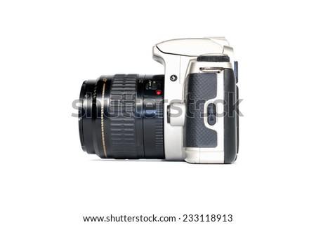 retro photo camera  isolated on white background,side view - stock photo