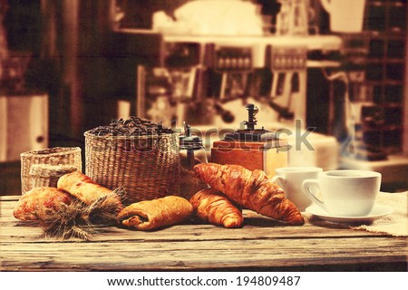 retro photo of coffee and sill in bar  - stock photo