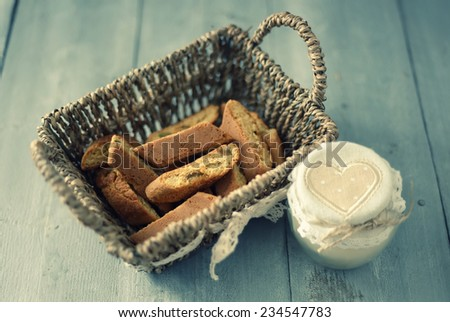 Retro photo of cookies in basket  - stock photo