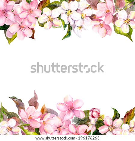 Retro pink flowers (apple, cherry blossom). Floral frame for vintage greeting card. Aquarelle - stock photo