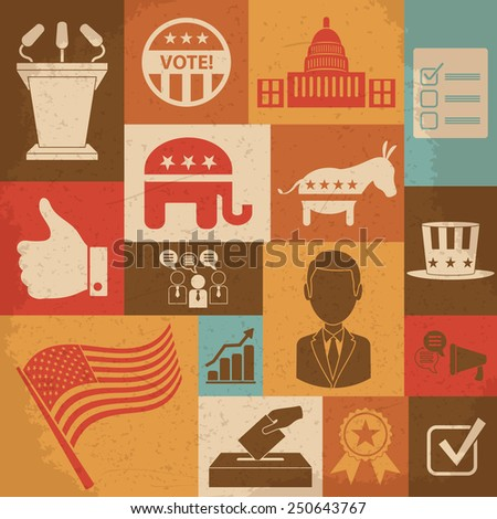 Retro political election campaign icons set. Raster version - stock photo