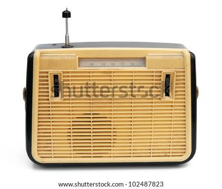Retro portable radio isolated on white - stock photo