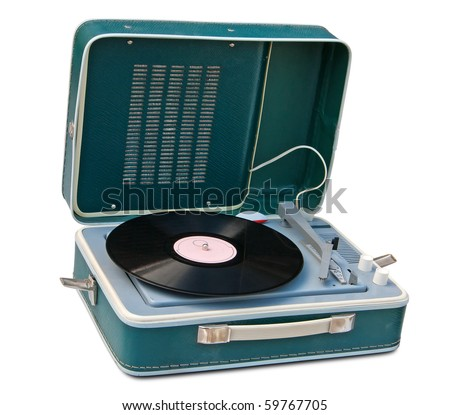 Retro portable turntable isolated. Clipping path included. - stock photo