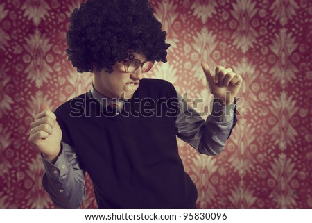 Retro portrait of a young man who dance - stock photo
