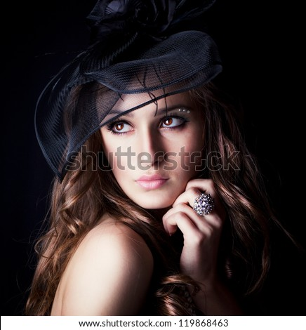 retro portrait of beautiful woman - stock photo