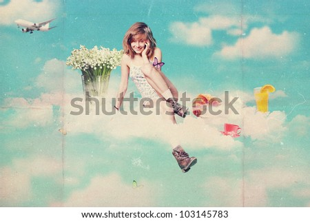 retro postcard with beauty young woman, vintage texture - stock photo