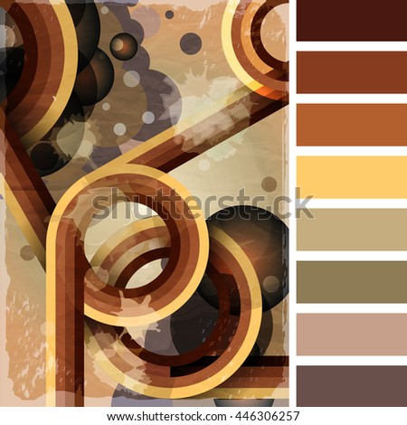 Retro poster template with bubbles, circles, lines and paint splashes. 1960s, 70s style grunge background. In a colour palette with complimentary colour swatches.  - stock photo