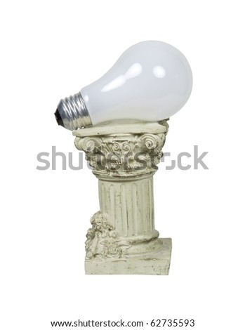 Retro power shown by a round light bulb on a stone formal pedestal for raising up an item of importance - path included - stock photo