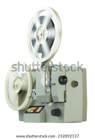 retro projection 8 mm film on a white background - stock photo