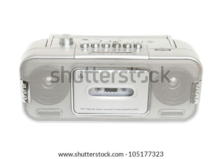 Retro radio cassette tape isolated on white background - stock photo