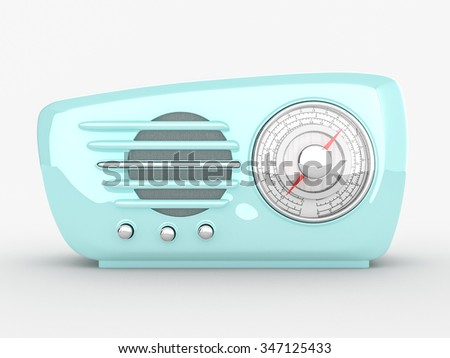 Retro radio device on white background. 3d realistic render - stock photo