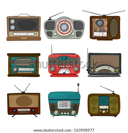 Retro radio icon set over white background - stock photo
