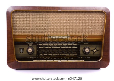 Retro radio on white background - stock photo