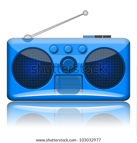 Retro radio receiver isolated over white background - stock photo