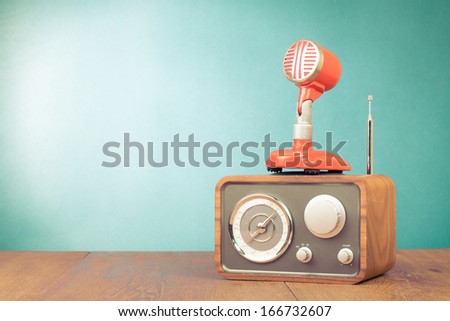 Retro radio, red microphone old style photo - stock photo