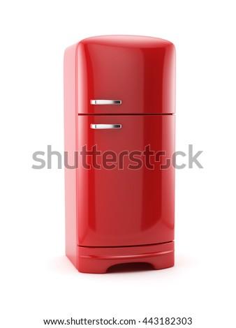 Retro red fridge refrigerator isolated on white background. 3d rendering illustration - stock photo
