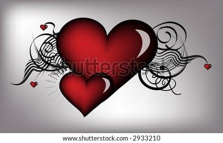 retro red hearts - stock photo