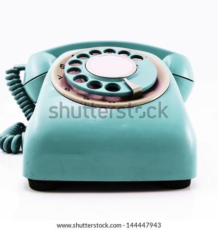 retro red phone - stock photo
