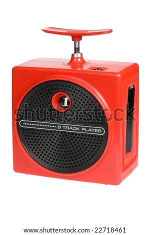 Retro red portable eight track tape player isolated on white background - stock photo
