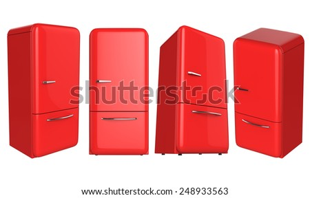 Retro red refrigerator fridge set in different angle perspective isolated on white background.  - stock photo