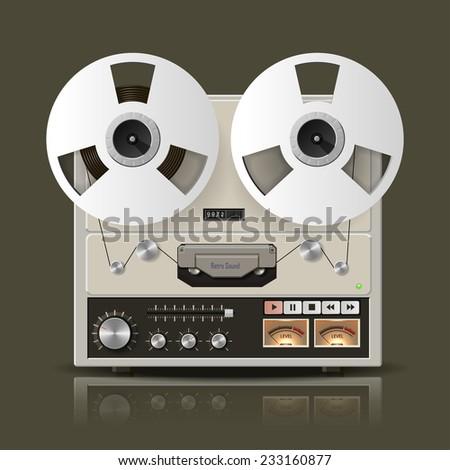 Retro reel tape recorder - stock photo