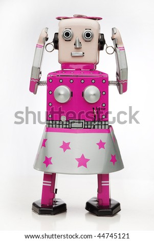 retro robot girl - stock photo