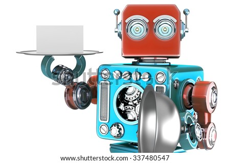 Retro robot holding a tray with blank card. Isolated over white. Contains clipping path - stock photo