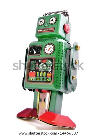 retro robot on  white - stock photo