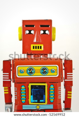retro robot toy - stock photo