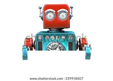 Retro robot with blank board. Isolated over white. Contains clipping path - stock photo
