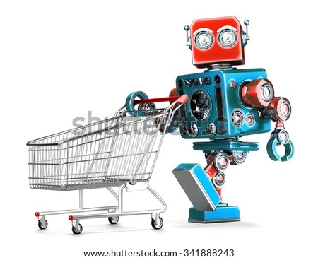 Retro robot with shopping cart. Isolated over white. Contains clipping path - stock photo