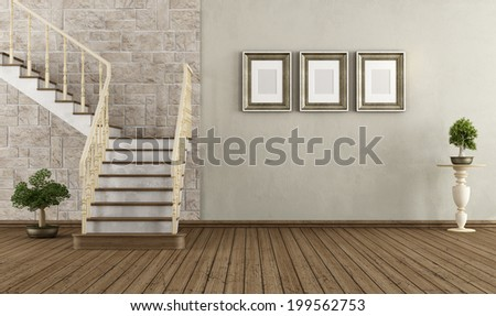 Retro room with wooden staircase - rendering - stock photo