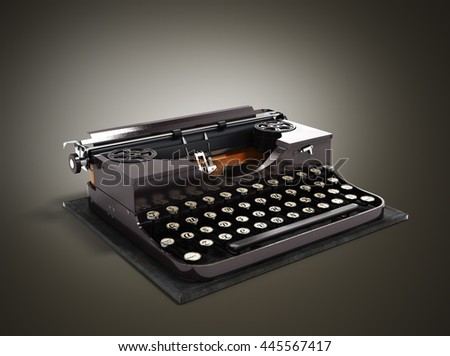 Retro rusty typewriter 3d render on gradient background - stock photo