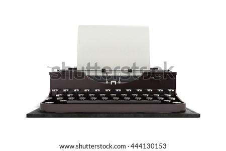 Retro rusty typewriter with paper sheet in front 3d render isolated on white background - stock photo