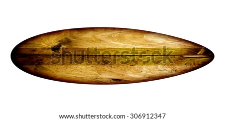 Retro 60's Surfboard isolated over a white background. - stock photo