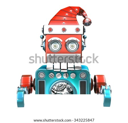 Retro Santa Robot looking out from behind the blank board. Isolated over white. Contains clipping path - stock photo