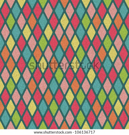 Retro Seamless Colorful Argyle Pattern with Paper Texture. Old Rhomb Background - stock photo