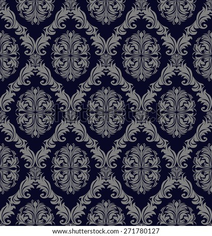 Retro seamless Wallpaper with damask floral Ornament for design. Raster version. - stock photo