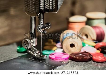 Retro sewing machine - stock photo