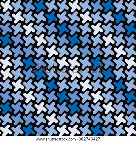 Retro Shapes Pattern in shades of blue repeats seamlessly. - stock photo