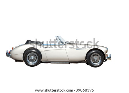 Retro silver car isolated on white - stock photo