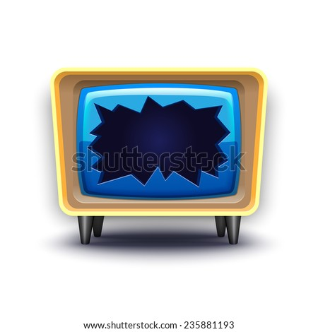 retro simple broken TV - stock photo