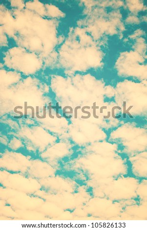 Retro Sky and Clodus - stock photo