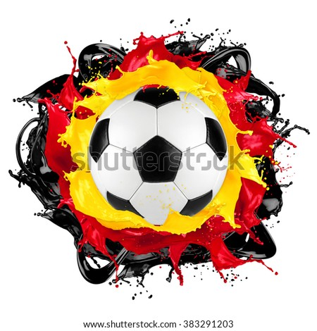 retro soccer ball with german flag color splash isolated on white background - stock photo