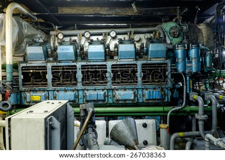 Retro spaceship engine diesel Vessel's Main Engine  - stock photo