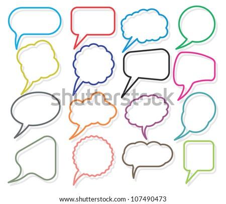 Retro speak bubbles - stock photo