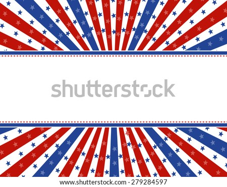 Retro stars and stripes 4th of july design with empty space to add your text - stock photo