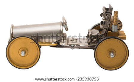Retro steampunk car. Cyberpunk style. Chrome and bronze parts. Isolated on white background. - stock photo